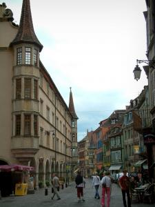 Colmar - High street with arches houses, café terrace and shops