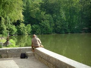 Commelles lakes - Walker sat on a low wall and observing the fishpond with water birds, trees of the forest