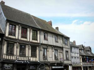 Conches-en-Ouche - Facades of half-timbered houses of the Rue Sainte-Foy street