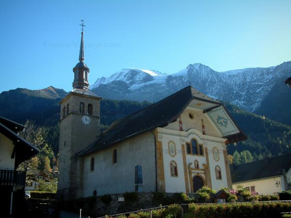 Les Contamines-Montjoie - Baroque church in the village (ski resort), forest and the Mont Blanc mountain range