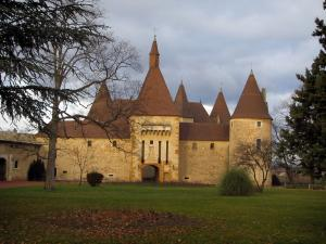 Corcelles castle - Castle, lawn, trees and turbulent sky in the Pays Beaujolais region