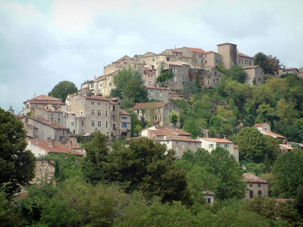 Cordes-sur-Ciel - View of trees and houses of the Albigensian fortified town
