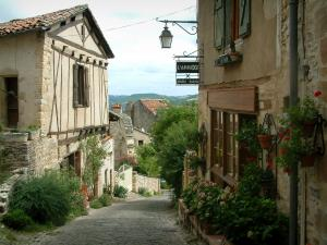 Cordes-sur-Ciel - Paved sloping street and its houses decorated with flowers and plants