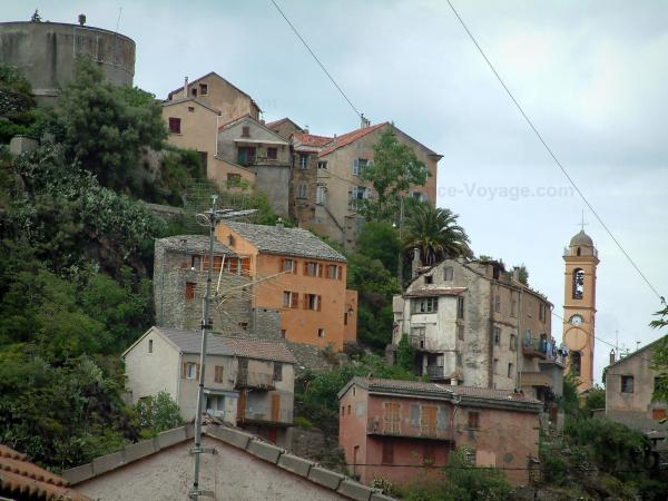 Corte - Trees, houses and church bell tower