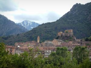 Corte - Trees, old town, eyrie of the citadel and mountains (peak covered with snow) in background