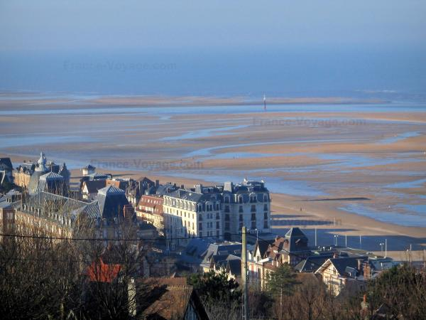 Côte Fleurie (Flower coast) - View of houses and villas of Houlgate (seaside resort), the sandy beach at ebb tide
