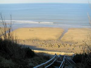 Côte Fleurie (Flower coast) - View of the sandy beach and the Channel (sea)