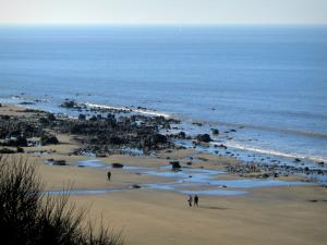Côte Fleurie (Flower coast) - Sandy beach with walkers, cliffs and the Channel (sea)