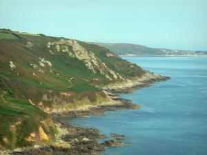 Cotentin coast - Caps road: wild coast (côte sauvage), moors dominating the Channel (sea); landscape of the Cotentin peninsula
