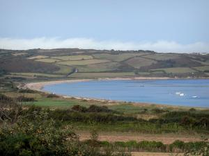 Cotentin coast - Caps road: Saint-Martin bay, fields and the Channel (sea); landscape of the Cotentin peninsula