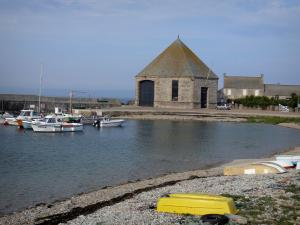 Cotentin coast - Caps road: Goury port (rescue station); landscape of the Cotentin peninsula