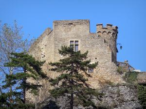 Crémieu - Delphinal Castle (fortified castle) located on the Saint-Laurent hill and trees