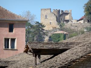 Crémieu - Slate roof of the medieval covered market hall in foreground with a view of the Delphinal castle