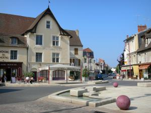 Cusset - Place Victor-Hugo square, Louis XI tavern, café terrace and houses in the town