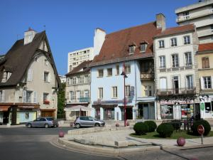 Cusset - Facades of houses surrounding the Place Victor-Hugo square