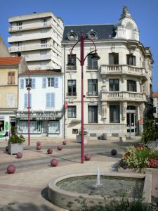 Cusset - Bassin, floral and houses of the Place Victor-Hugo square