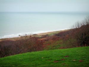 D-Day Landing Beaches - From the American military cemetery, view of Omaha Beach and the Channel (sea)