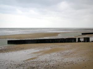 D-Day Landing Beaches - Gold Beach, the Channel (sea), and cloudy sky