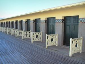 Deauville - Côte Fleurie (Flower coast): beach huts on the Planches boardwalk