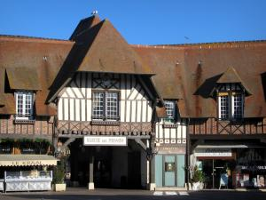 Deauville - Côte Fleurie (Flower coast): timber-framed houses, restaurant, and shop