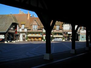 Deauville - Côte Fleurie (Flower coast): wooden pillars, square, and timber-framed houses