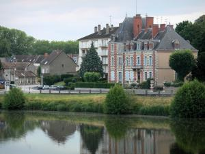 Decize - Facades of the town and River Loire