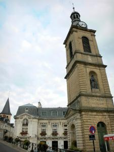 Decize - Clock tower with the statue of Guy Coquille, facade of the town hall, bell tower of the Saint-Aré church