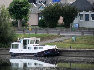 Decize - Moored boat on River Loire