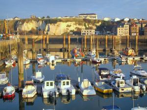Dieppe - Boats in the port, quays, chalk cliff and houses of the city