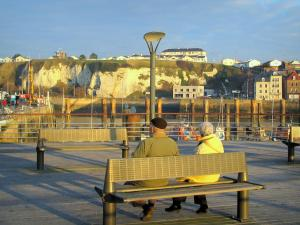 Dieppe - People sitting on a bench with view of the port, the quays, the houses of the city and the chalk cliff
