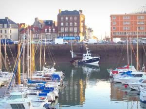 Dieppe - Port with sailboats (boats) and trawler, quay, houses and buildings