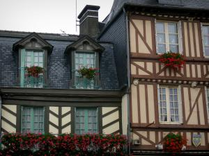 Dol-de-Bretagne - Old half-timbered houses in the Grande-Rue des Stuarts street
