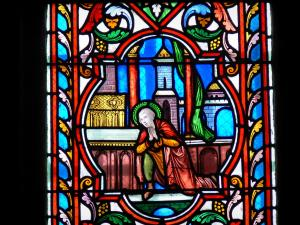 Dol-de-Bretagne - Inside of the Saint-Samson cathedral: stained glass window (window)