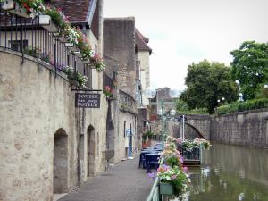 Dole - Houses of the old town and café terrace on the edge of the Tanneurs canal, flowers and trees