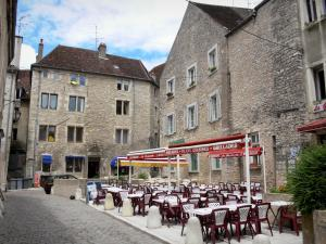Dole - Houses and restaurant terrace of the old town