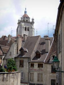 Dole - Bell tower of the Notre-Dame collegiate church and facades of houses in the old town