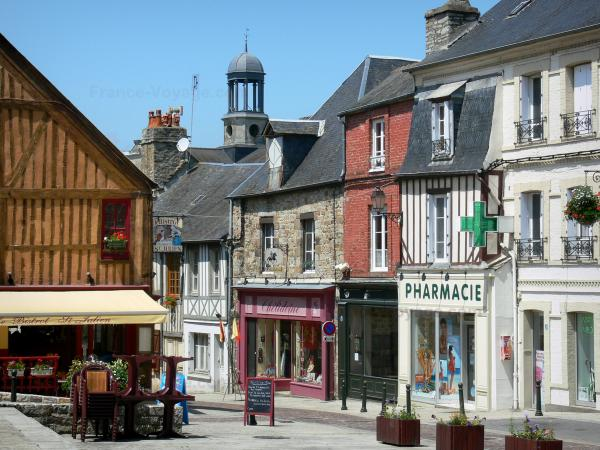 Domfront - Facades of houses and shops of the medieval town; in the Normandie-Maine Regional Nature Park