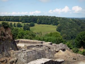 Domfront - Site of the remains (ruins) of the château overlooking the surrounding wooded landscape; the Normandie-Maine Regional Nature Park