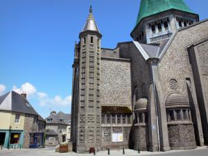 Domfront - Saint-Julien church of Neo-Byzantine style and medieval houses