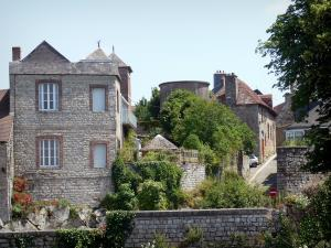 Domfront - Facades of houses in the medieval town