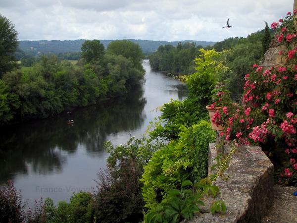 Dordogne valley - From the village of Beynac-et-Cazenac, view of the River Dordogne lined with trees, bird flying and a cloudy sky, in Périgord