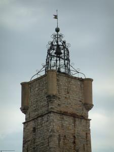Draguignan - Horloge tower with bartizans and forged iron bell tower
