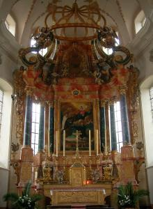 Ebersmunster - Baroque interior of the abbey church (altar)