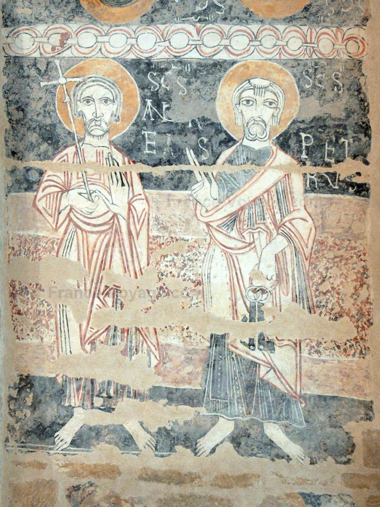 L'église rupestre de Vals - Église rupestre de Vals: Intérieur de l'église Sainte-Marie : peinture murale (fresque) romane