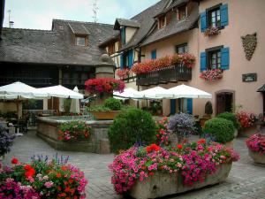 Eguisheim - Small square decorated with flowers, a fountain, a café terrace and a house decorated with geranium flowers