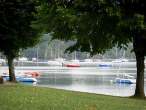 Éguzon lake - Chambon lake: lawn, trees along the water, stretch of water and boats