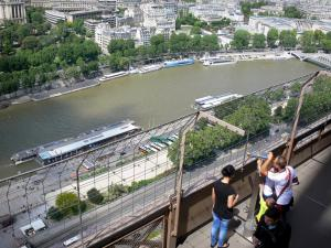 Eiffel tower - View of the Seine river and its surroundings from the second floor of the Eiffel tower