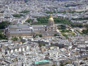Eiffel tower - Panorama of Paris and the Invalides from the top of the iron tower