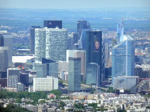 Eiffel tower - View of the buildings of the La Défense district from the top of the Eiffel tower