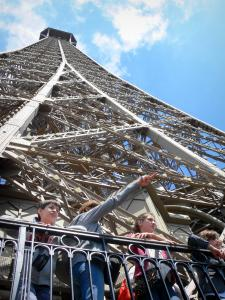 Eiffel tower - View of the metal frame of the tower from the second floor